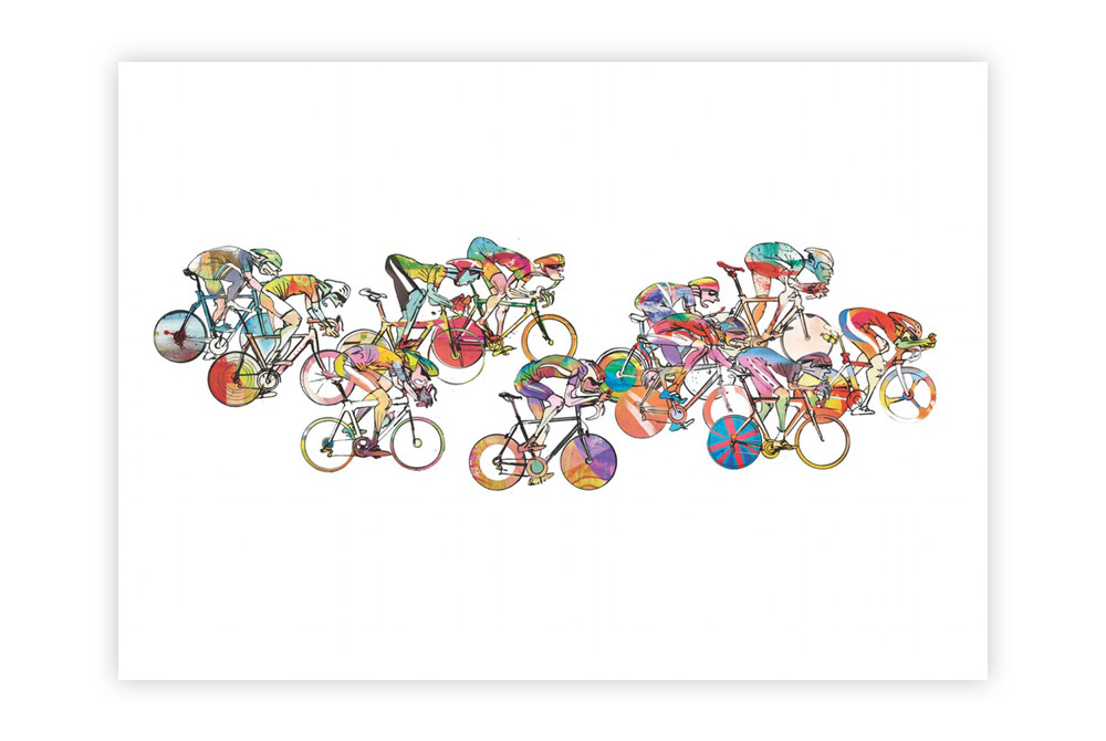 The Race 03 Cycling Print by Simon Spilsbury