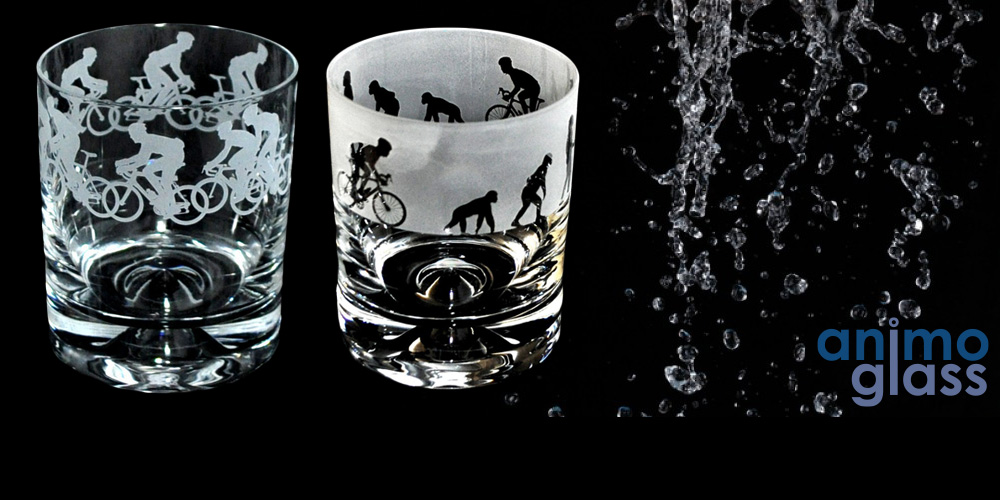 Bicycle Glass Tumblers