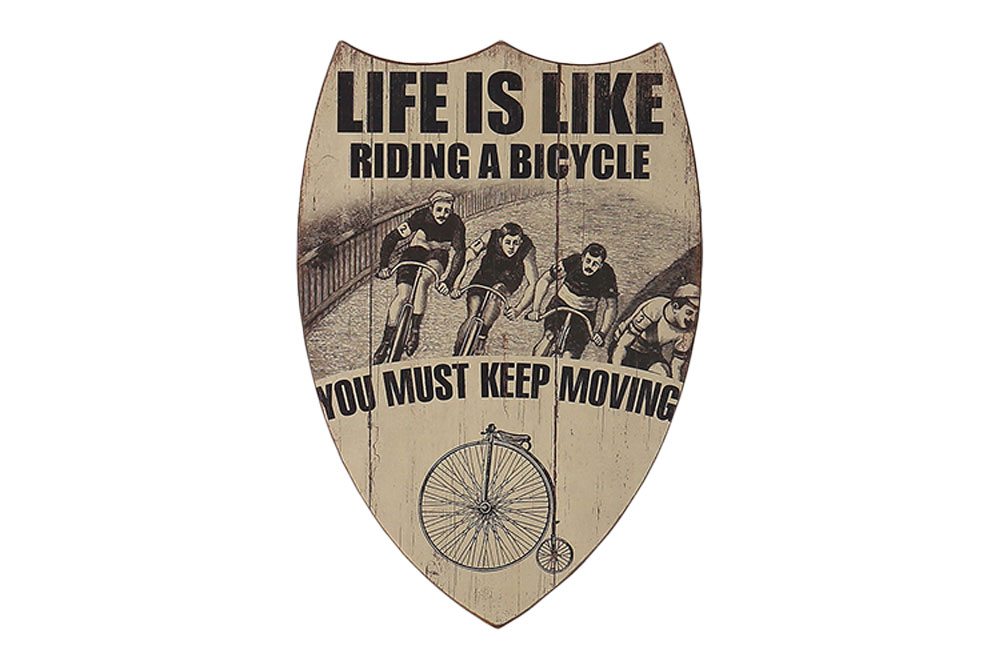 Keep Moving Wooden Bicycle Shield