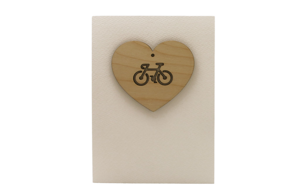 Bike Love Wooden Heart Greeting Card