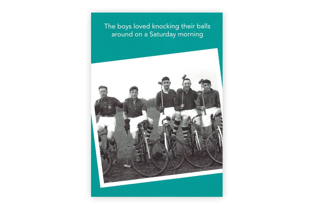 Knocking their balls Bicycle Greeting Card