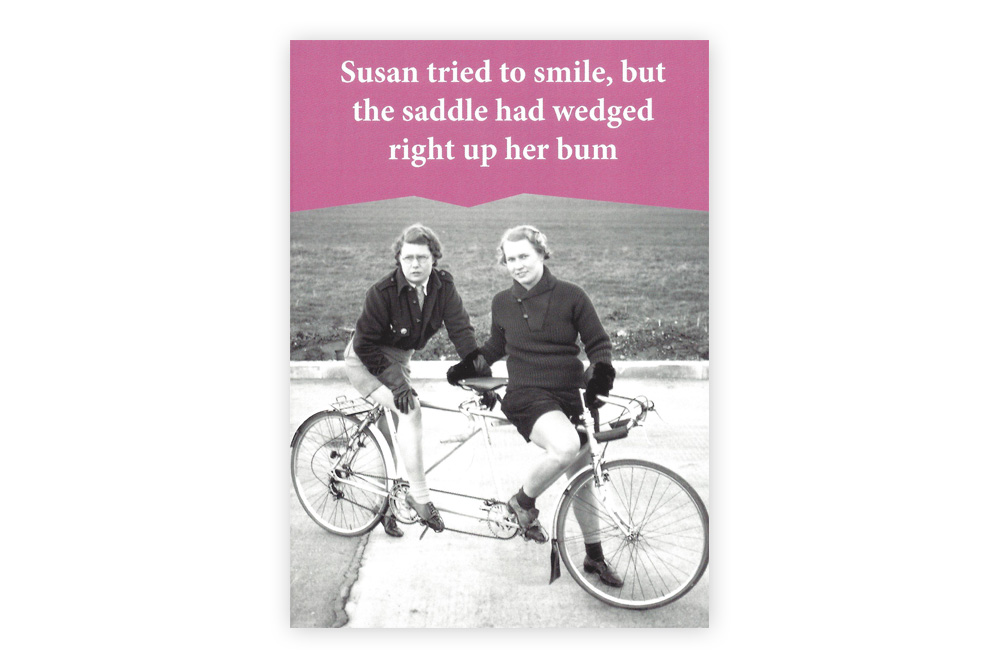 Wedged up her bum Bicycle Greeting Card
