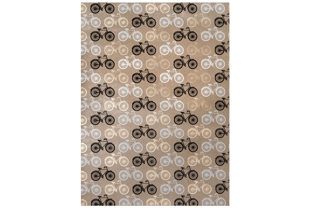 Handmade Bicycle Wrapping Paper – Black, White and Gold