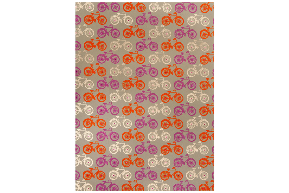Handmade Bicycle Wrapping Paper – Orange, Gold and Pink