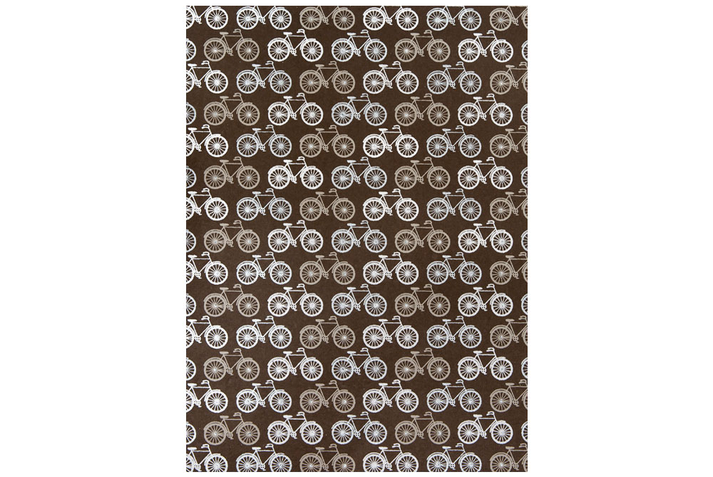 Handmade Bicycle Wrapping Paper – White, Silver and Grey