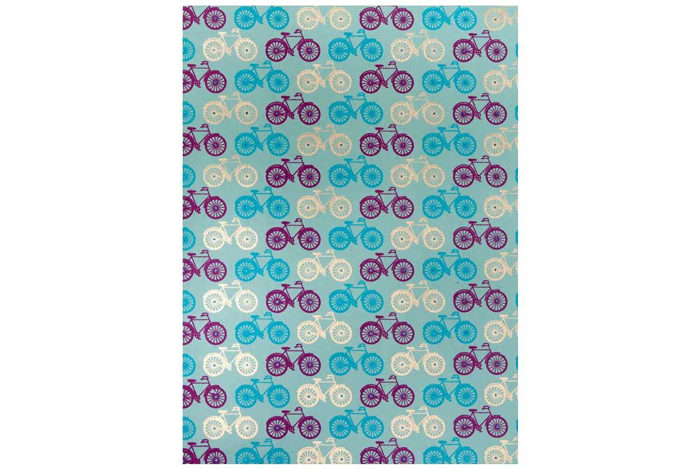 Handmade Bicycle Wrapping Paper – Blue, Purple and Gold