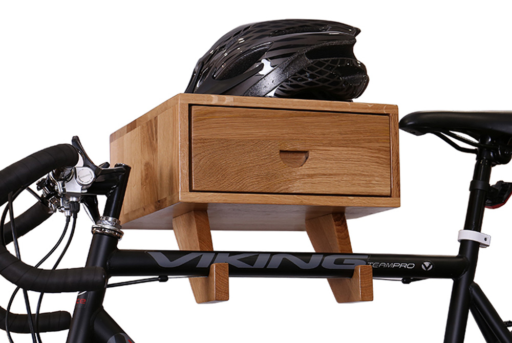 Wooden Bicycle Wall Rack with Drawer