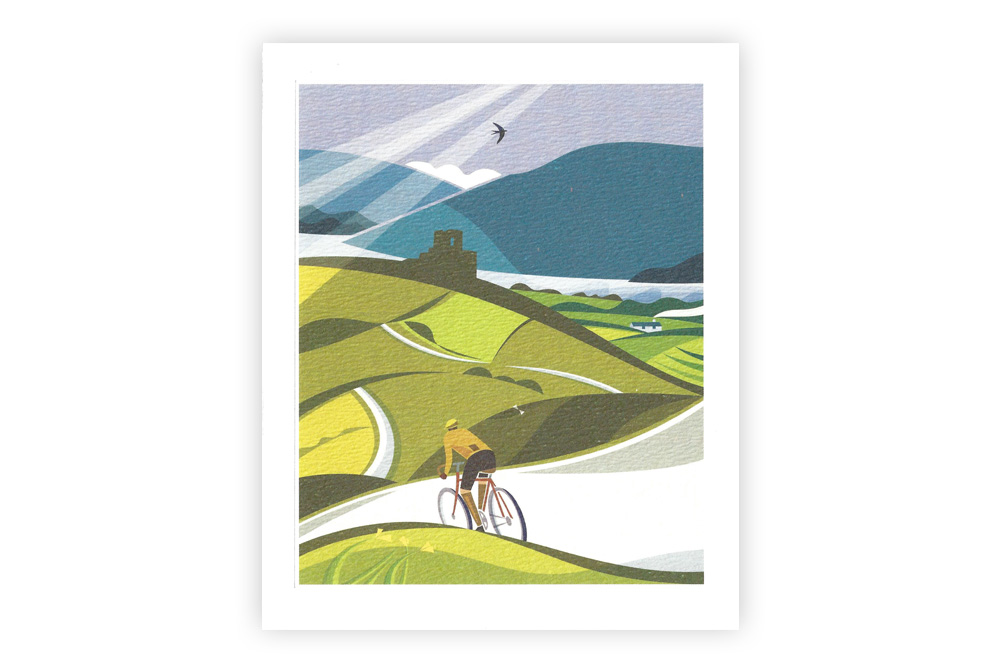 Lost Lanes Wales Bicycle Greeting Card by Andrew Pavitt