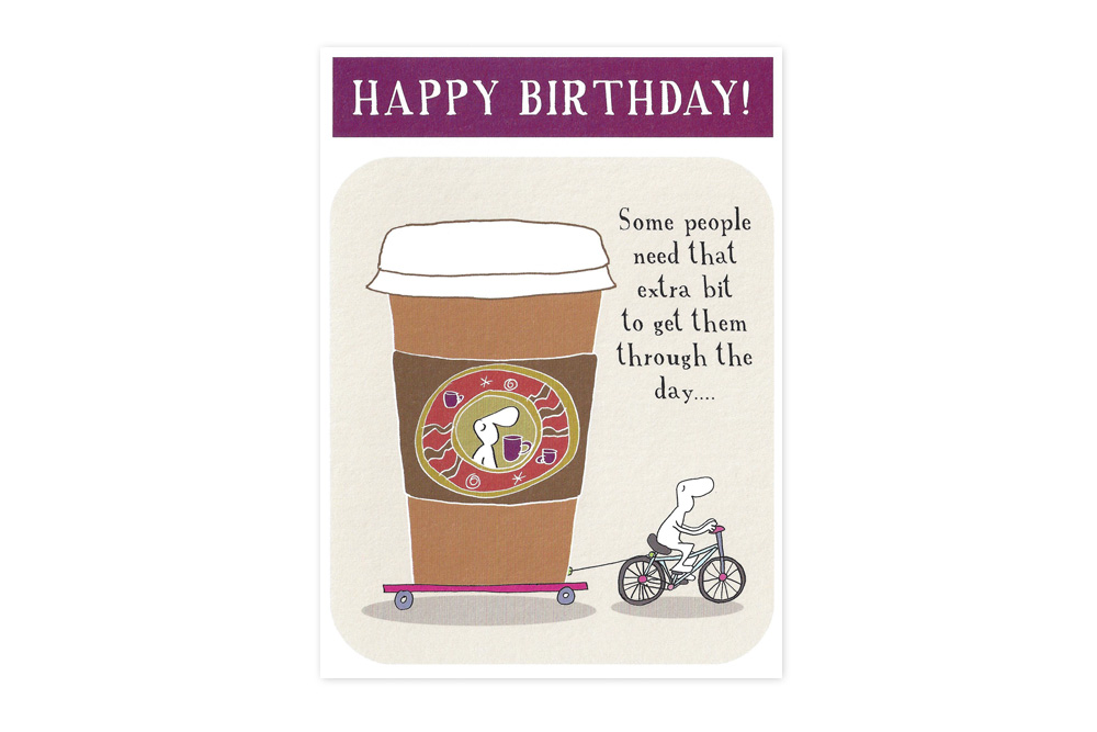 coffee on your birthday bicycle greeting card  cyclemiles, Birthday card