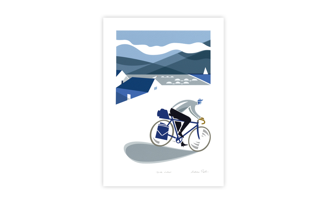 Blue Rider Bicycle Greeting Card by Andrew Pavitt