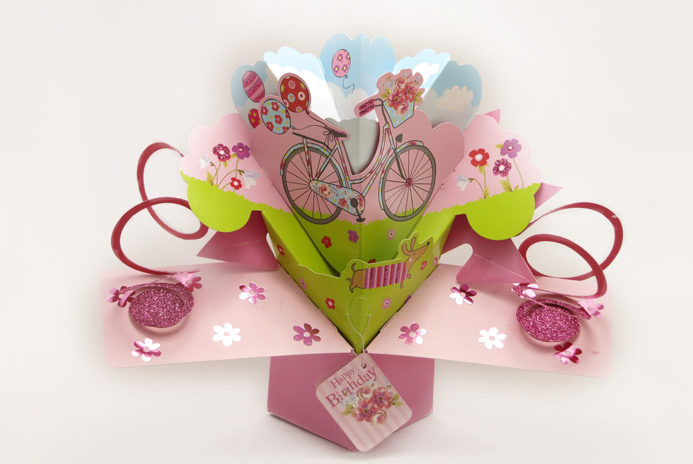 Bicycle and Balloons Pop Up Greeting Card