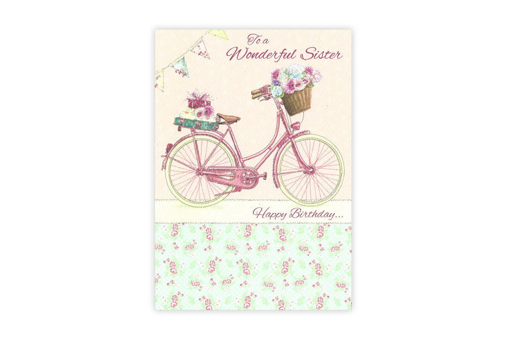 Wonderful Sister Bicycle Birthday Card