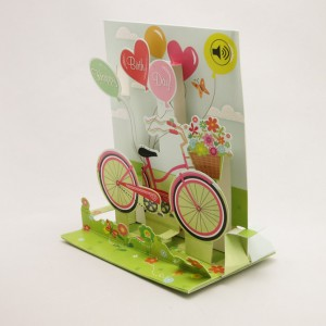 Bicycle and Balloons Musical Pop Up Greeting Card
