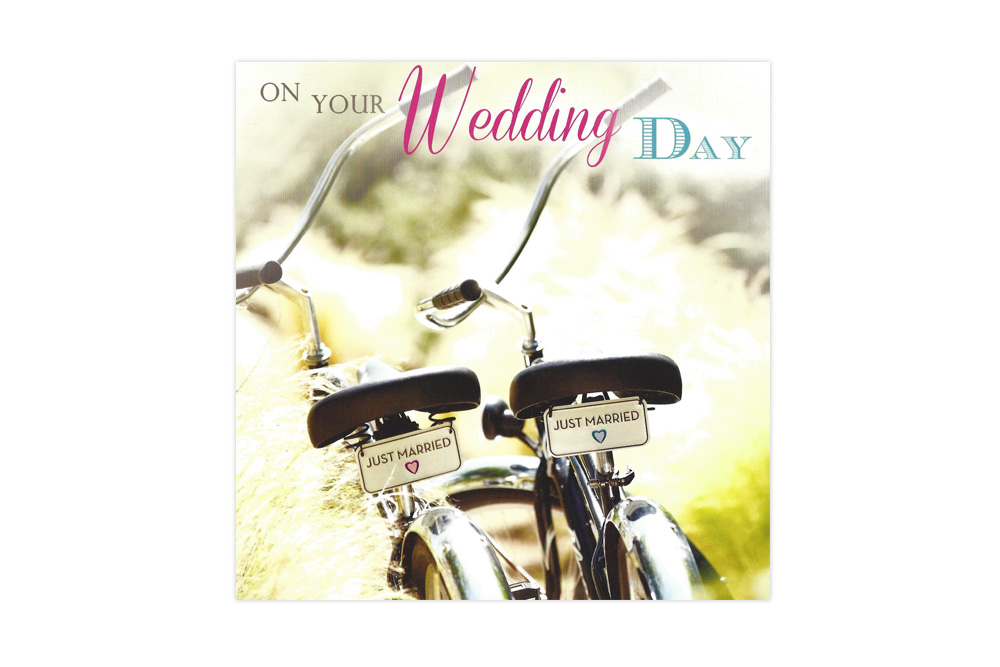 Just Married Bicycle Greeting Card