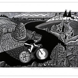 Bee is for Bicycle Cycling Print by Hugh Ribbans