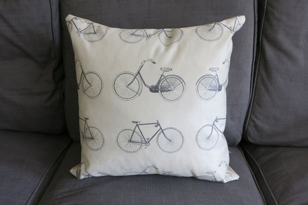 Vintage Grey Patterned Bicycle Cushion