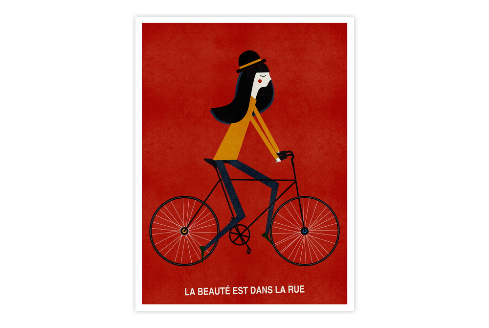 La Beauté Est Dans la Rue Cycling Print by Blanca Gomez