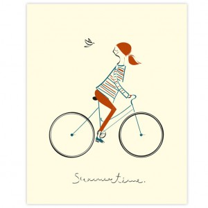 Summertime Cycling Print by Blanca Gomez