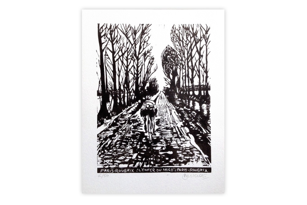 Paris-Roubaix Cycling Print by Dave Flitcroft