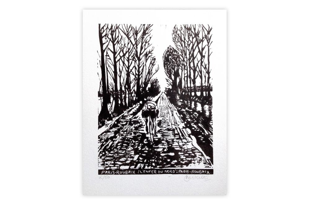 Paris-Roubaix Cycling Print by Dave Flitcroft