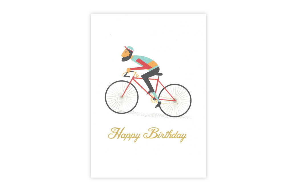 Le Bicycle Happy Birthday Greeting Card