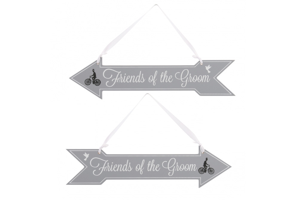 Friends of the Groom Bicycle Wooden Sign