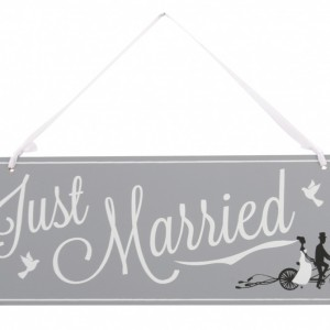 Just Married Bicycle Wooden Sign