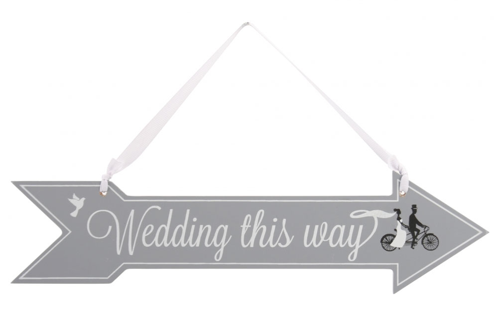Wedding This Way Bicycle Wooden Sign