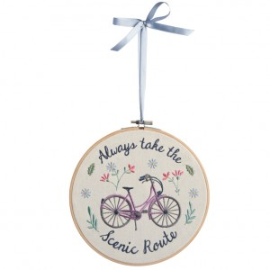 Embroidered Bicycle Wall Hanging