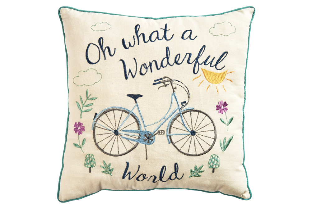 Wonderful World Embroidered Bicycle Cushion