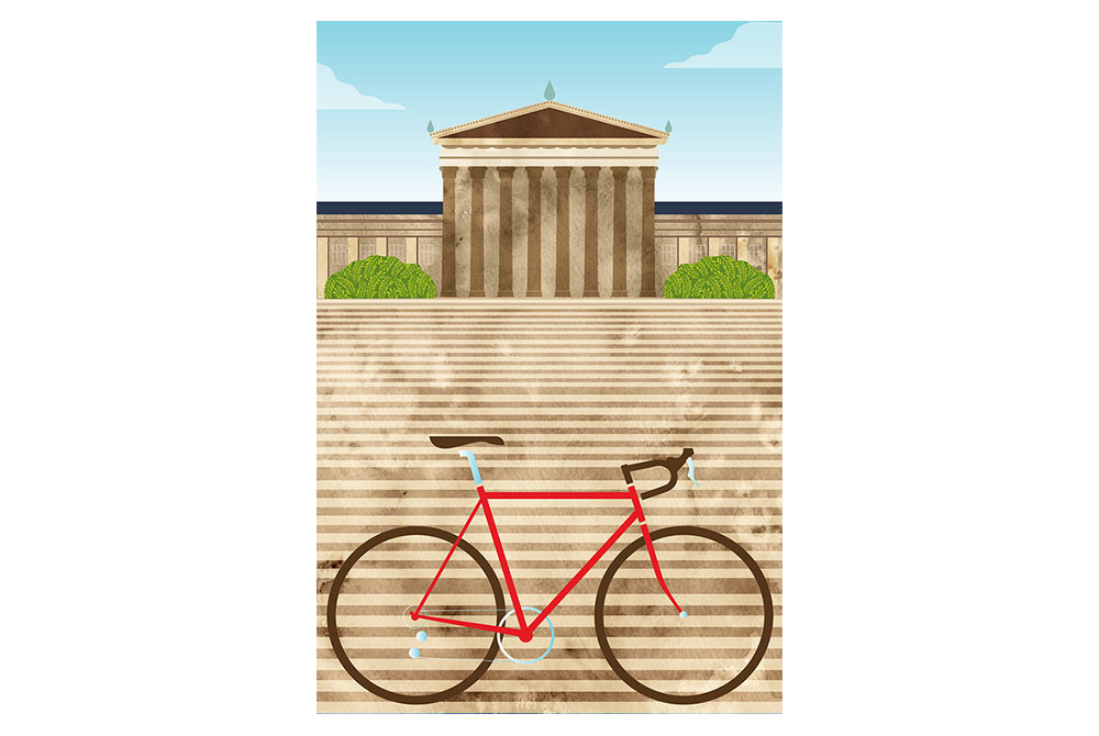 Philadelphia Art Museum Cycling Print by Eleanor Grosch