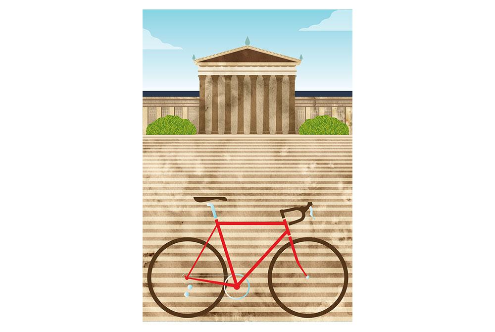 Philadelphia Art Museum Cycling Print by Eleanor Grosch
