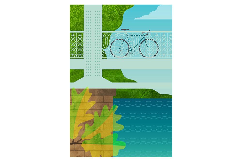 Philadelphia Fairmount Park Cycling Print by Eleanor Grosch