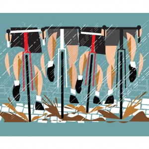 Paris-Roubaix Cycling Print by Eleanor Grosch