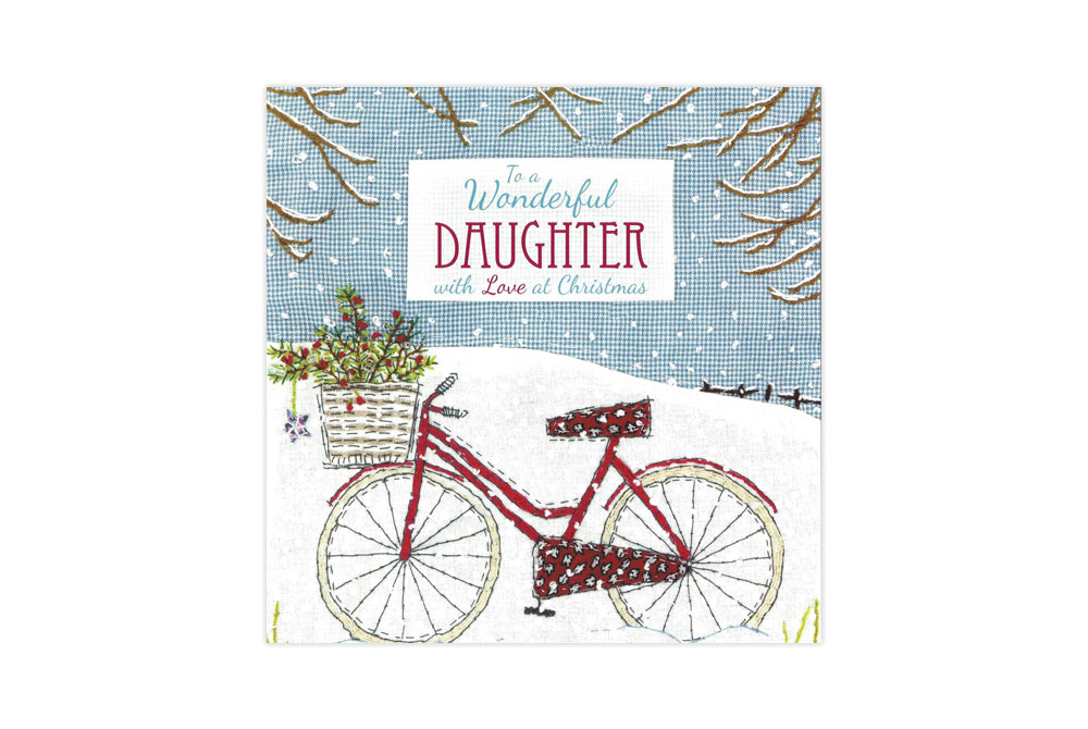Wonderful Daughter Snowy Bicycle Christmas Card