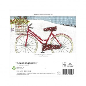 Wonderful Daughter Snowy Bicycle Christmas Card
