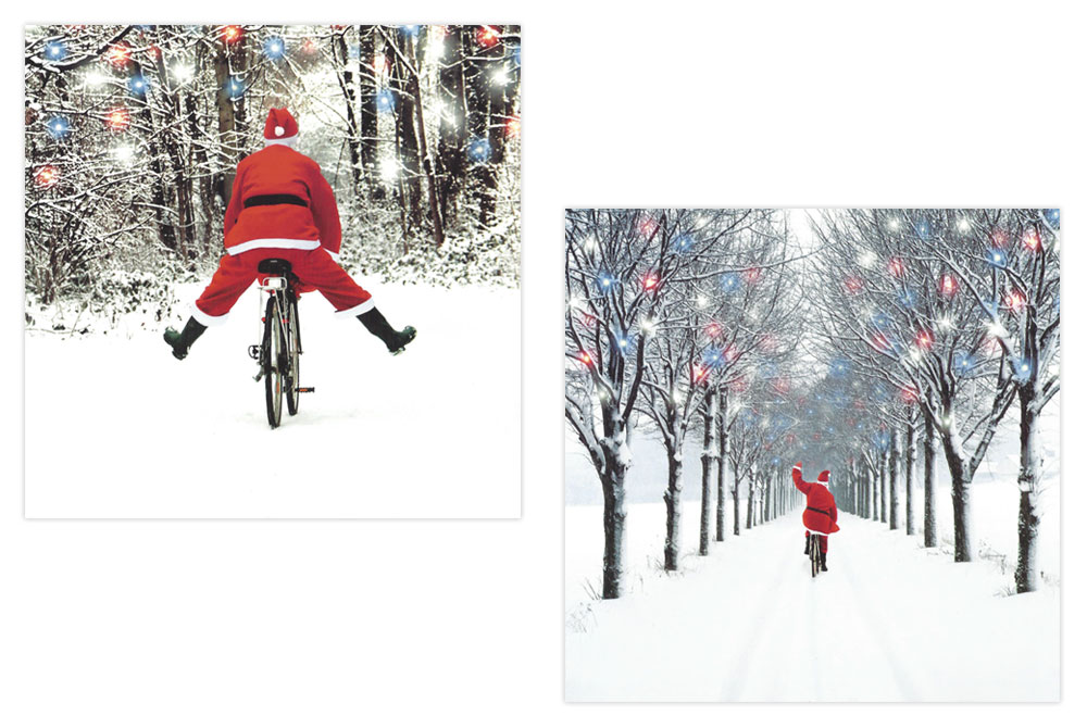 On His Way Home Bicycle Christmas Cards x 16