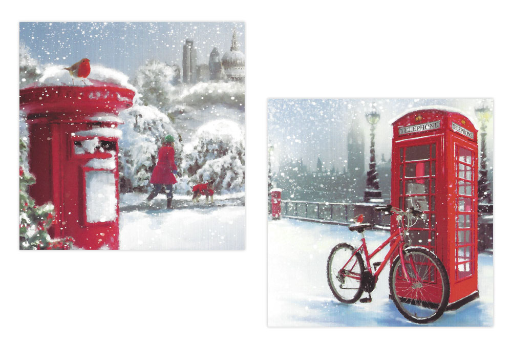 Telephone Box and Post Box Bicycle Christmas Cards x 10 | CycleMiles