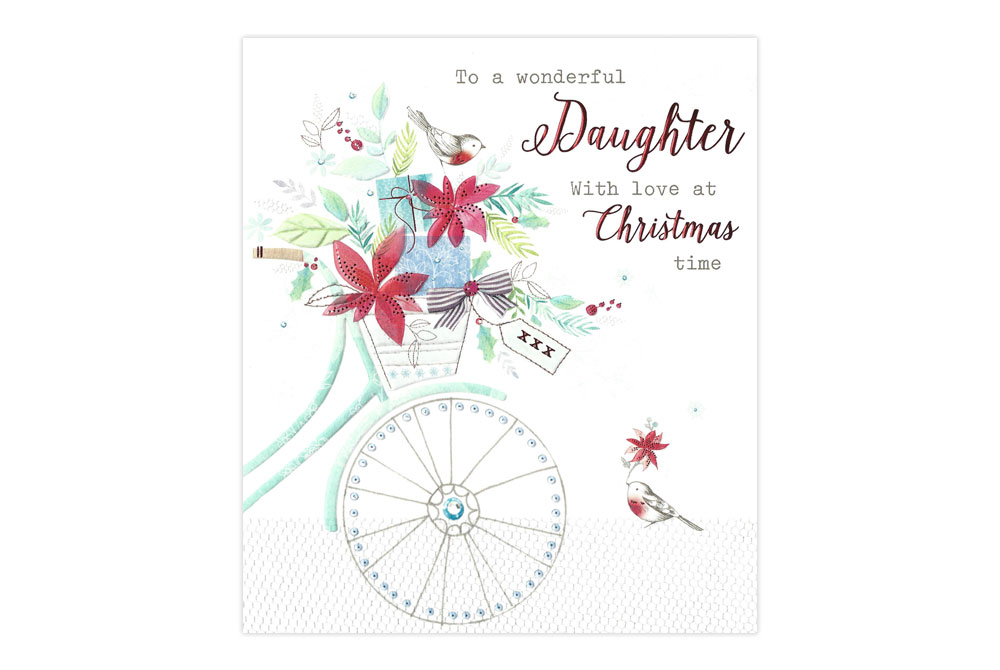 Wonderful Daughter Bicycle Christmas Card