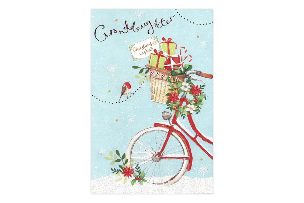 Granddaughter Bicycle Christmas Card