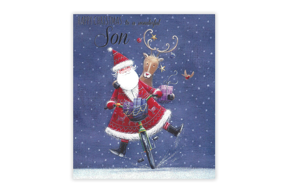 Wonderful Son Bicycle Christmas Card