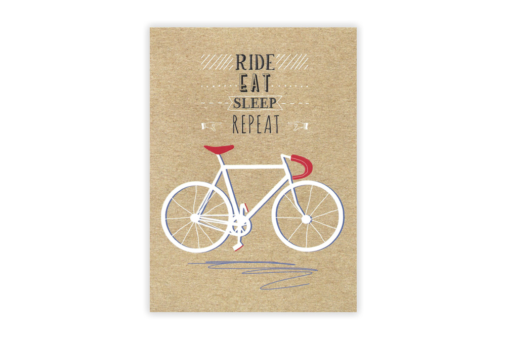 Ride Eat Sleep Repeat Bicycle Greeting Card