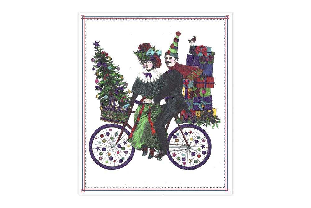 Christmas Cyclists Bicycle Christmas Card