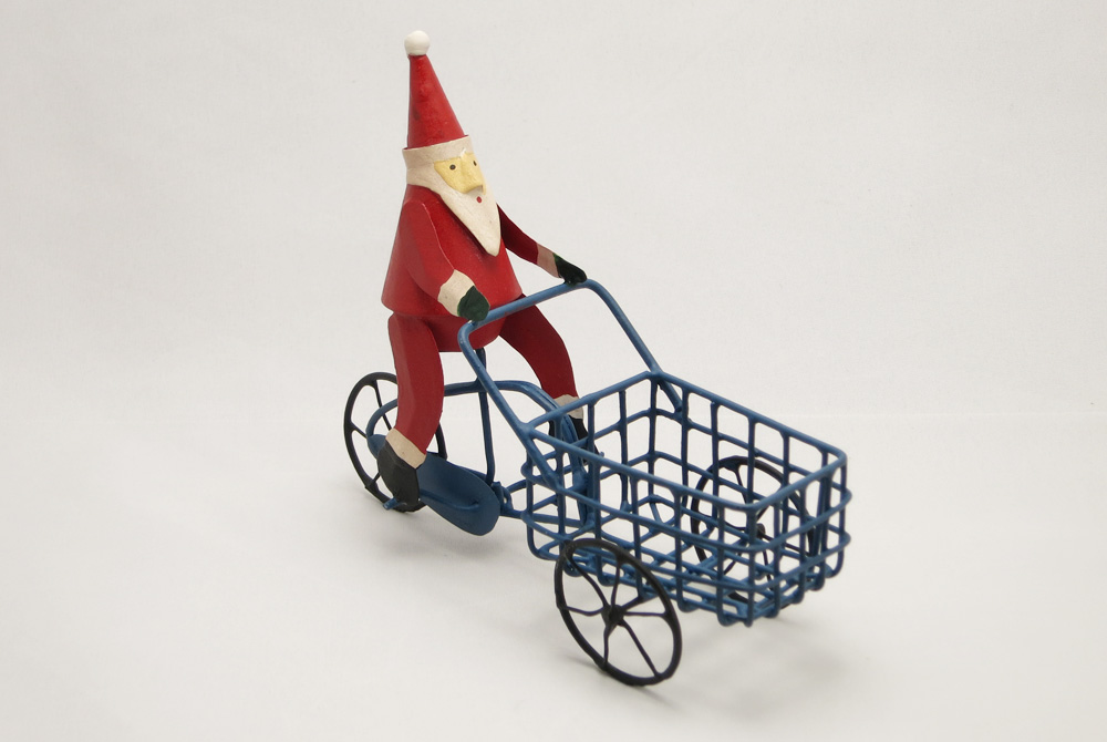 Bicycle Christmas Decoration – Santa on a Cargo Bike
