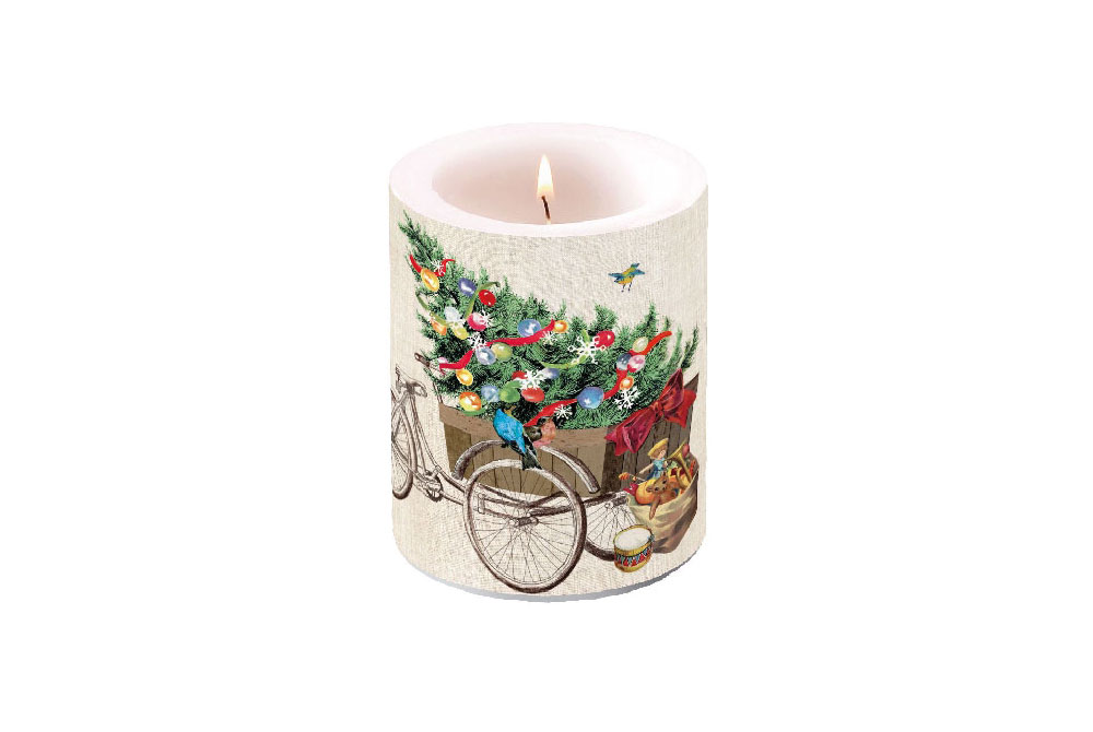 Christmas Bicycle Candle