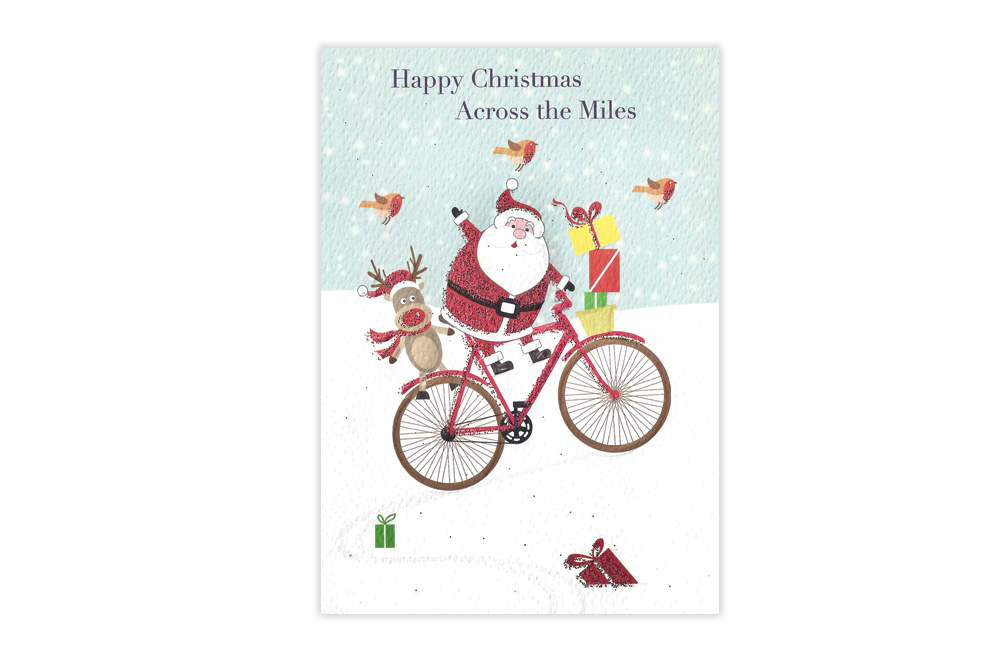 Across the Miles Bicycle Christmas Card