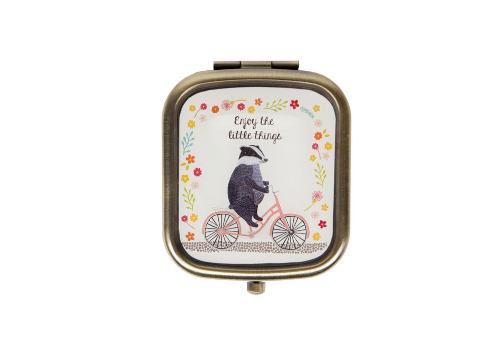 Badger on a Bicycle Compact Mirror
