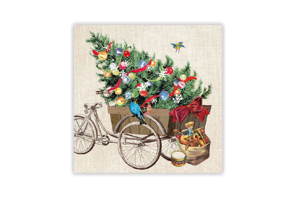 Christmas Bicycle Napkins