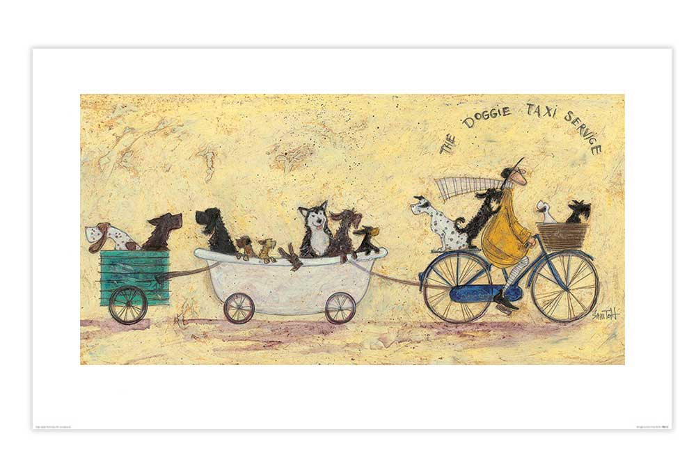 The Doggie Taxi Service Cycling Print by Sam Toft