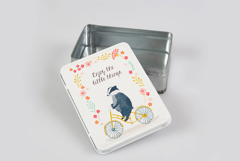 Badger on a Bicycle Tin